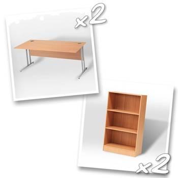 2 x straight desks + 2 x bookcase H1325mm