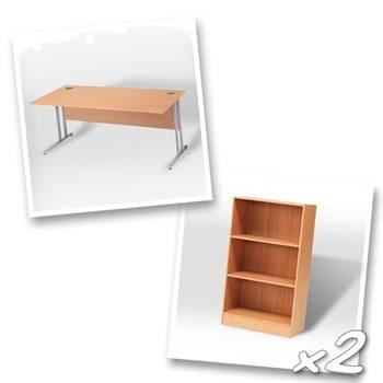 Straight desk + 2 x bookcase H1325mm