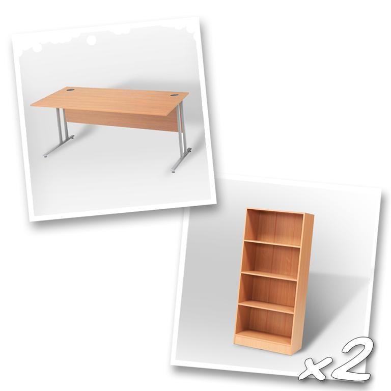 """Flexus budget"" package deal: 1 x straight desk + 2 x bookcase"
