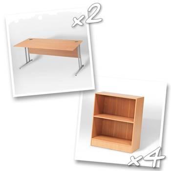 2 x straight desks + 4 x bookcase H925mm