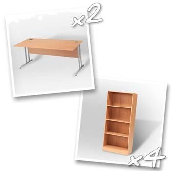 2 x straight desks + 4 x bookcase H1725mm