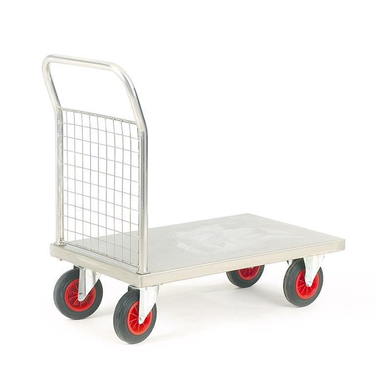 Stainless steel platform trolley: mesh end