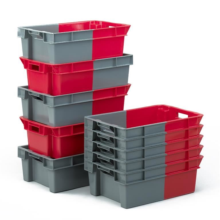 Stacking containers: perforated