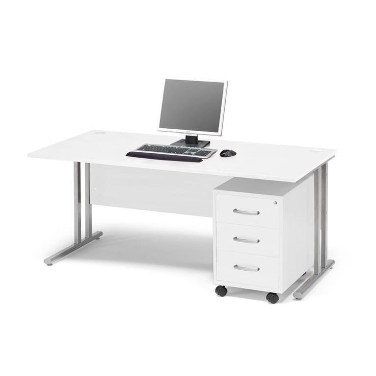 Skrivbordspaket Flexus, med rakt skrivbord samt hurts.
