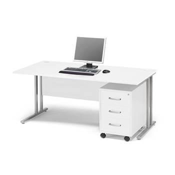 Skrivebordspakke Flexus, rett skrivebord og skuffeseksjon