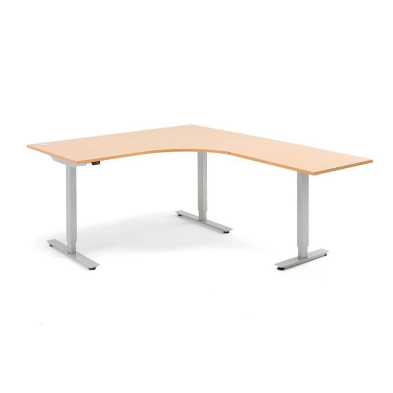 Hörnskrivbord - höj och sänkbara, L-form, Flexus, längd 1600 mm
