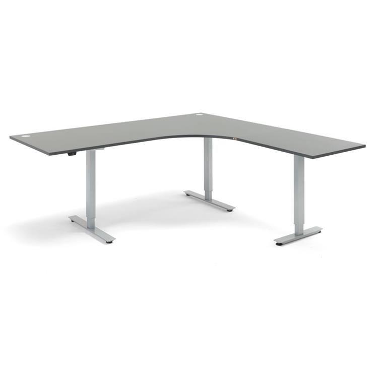 Hörnskrivbord - höj och sänkbara, L-form, Flexus, längd 2000 mm