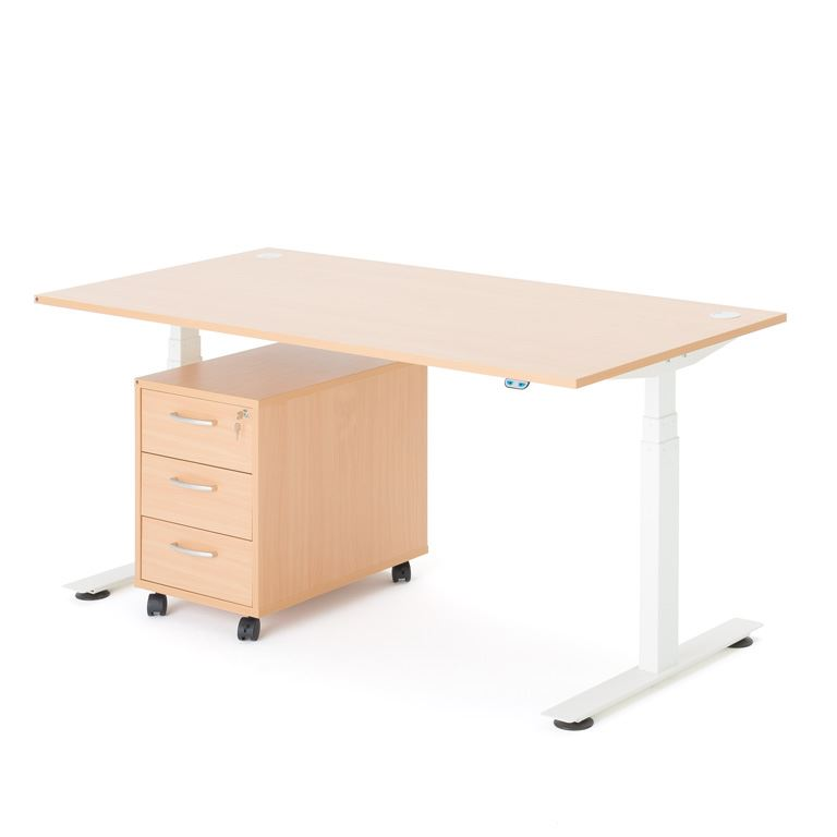 Skrivbordspaket med höj-och sänkbart skrivbord samt hurts