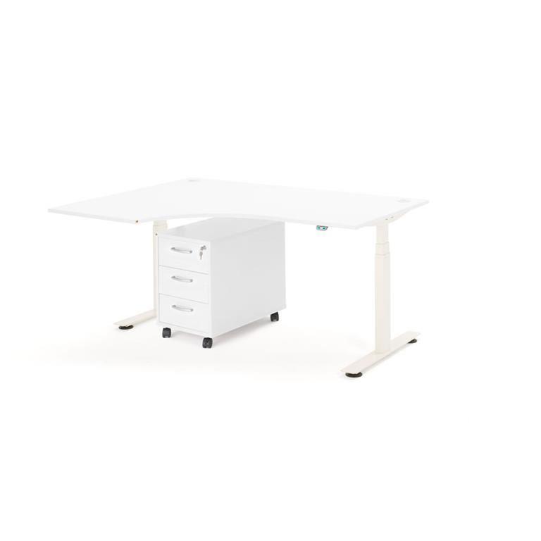 Skrivbordspaket Movus, med höj- och sänkbart hörnskrivbord i vänsterutförande samt hurts.