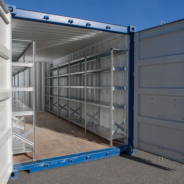 Galvanised shelving for 40 ft container