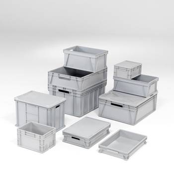 """Euro"" stackable plastic storage boxes"