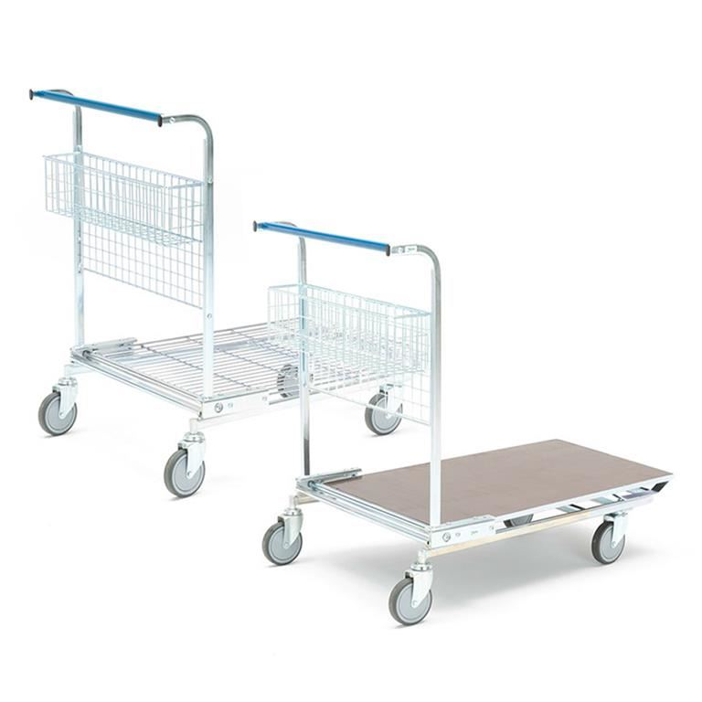 Warehouse trolley with basket