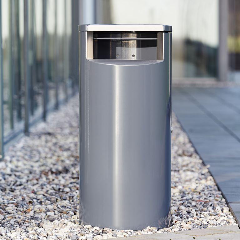 Galvanised outdoor waste bin