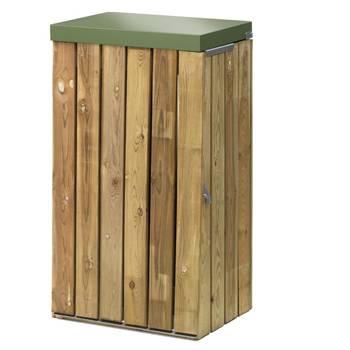 Wooden outdoor waste bin