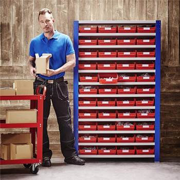 Package deal: shelving for small parts: 44 bins
