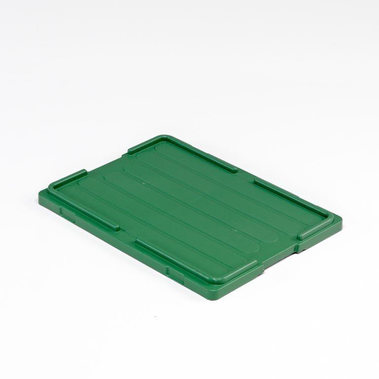 Lids for stackable plastic crates