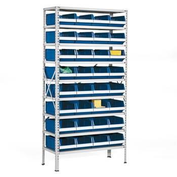 Lagerbokshylle, 32 bokser, blå bokser