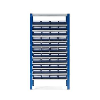 Small parts shelving with 44 bins