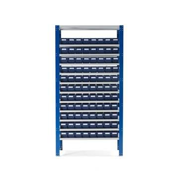 Lagerbokshylle, 88 bokser, blå bokser