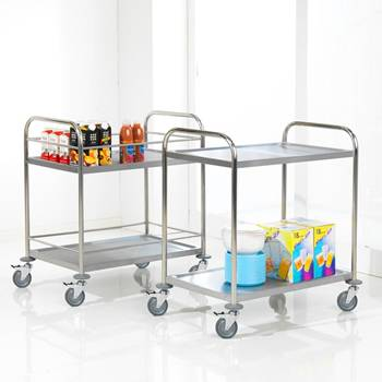 Stainless steel 2 shelf trolley: 100kg