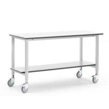 Mobile work table with bottom shelf