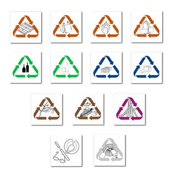 Adhesive waste sorting stickers