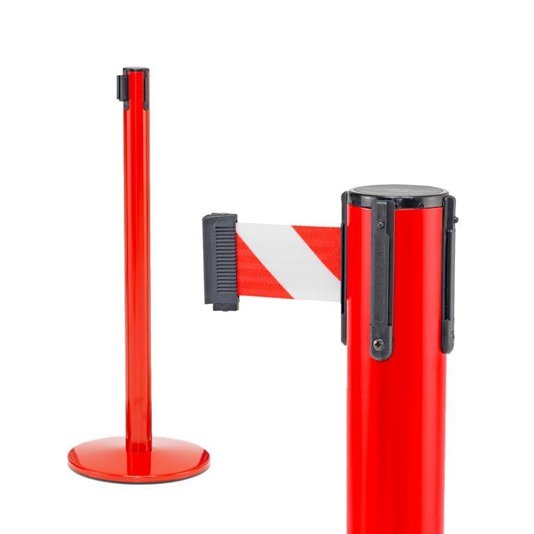 Indoor belt barrier: floor-standing