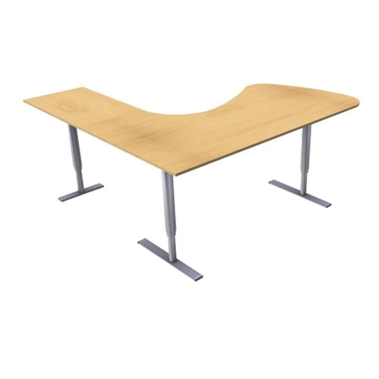 Hjørneskrivebord 3-ben, hev/senk, med besøksdel