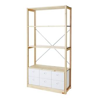 Tall bookshelf, open ends with 6 drawers