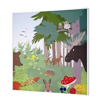 Sound absorbing wall art, forest animals