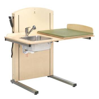 Height-adjustable changing table