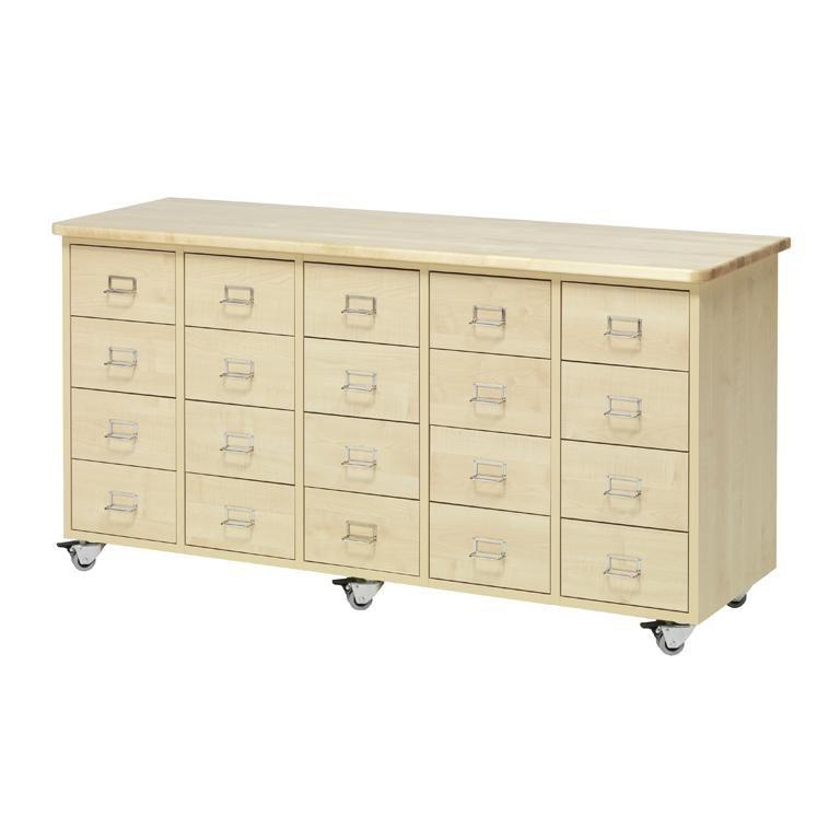 Merchant storage trolley, 20 drawers